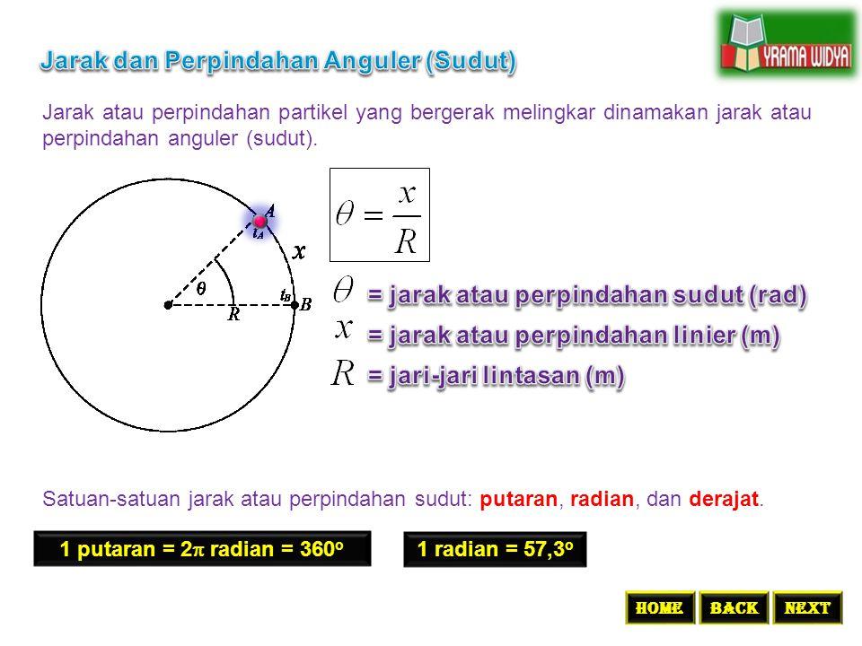 Jarak atau perpindahan partikel yang bergerak melingkar dinamakan jarak atau perpindahan anguler (sudut). BACKNEXTHome Satuan-satuan jarak atau perpin