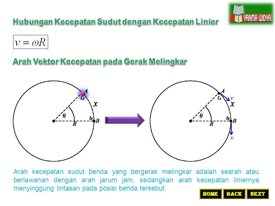 BACKNEXTHome v v Arah kecepatan sudut benda yang bergerak melingkar adalah searah atau berlawanan dengan arah jarum jam, sedangkan arah kecepatan lini