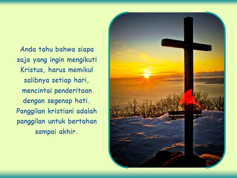 Anda tahu bahwa siapa saja yang ingin mengikuti Kristus, harus memikul salibnya setiap hari, mencintai penderitaan dengan segenap hati.