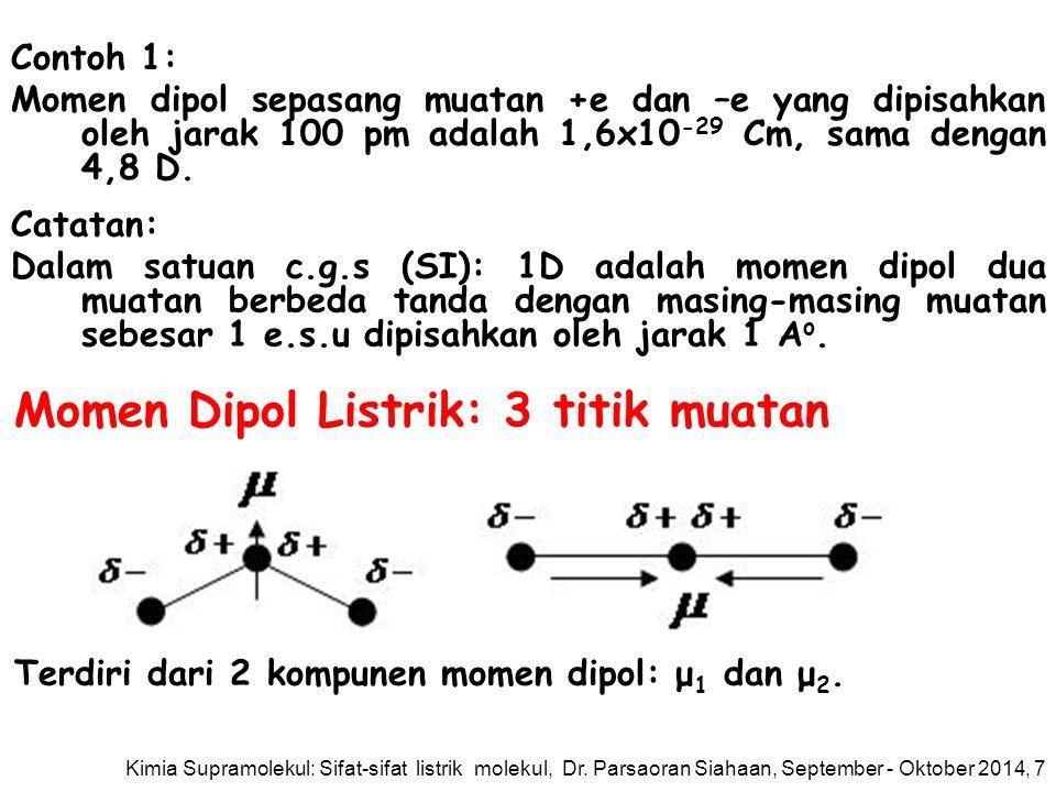 Contoh 1: Momen dipol sepasang muatan +e dan –e yang dipisahkan oleh jarak 100 pm adalah 1,6x10 -29 Cm, sama dengan 4,8 D.