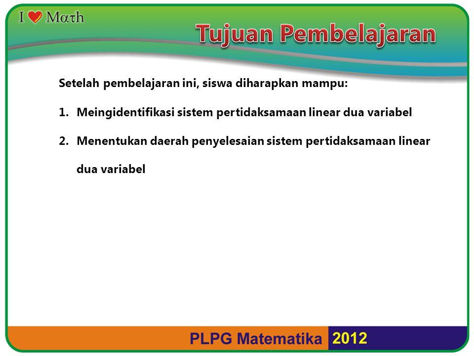 Setelah pembelajaran ini, siswa diharapkan mampu: 1.Meingidentifikasi sistem pertidaksamaan linear dua variabel 2.Menentukan daerah penyelesaian sistem pertidaksamaan linear dua variabel