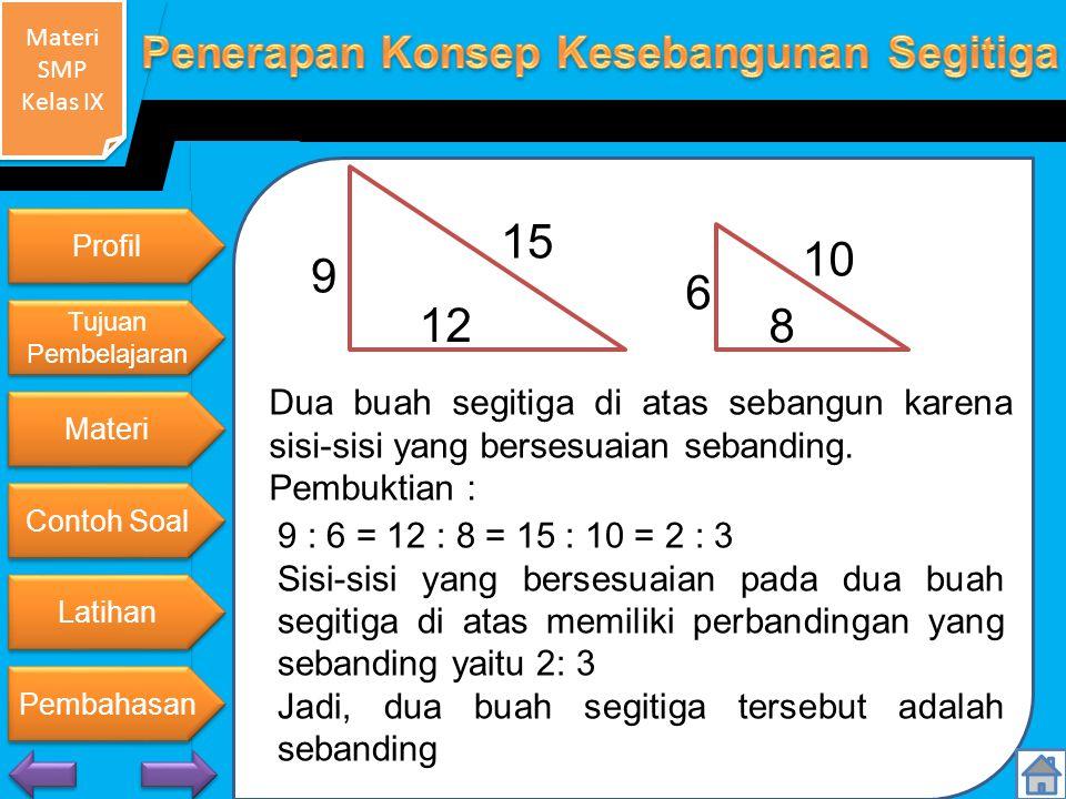Materi SMP Kelas IX Materi SMP Kelas IX 9 15 12 6 10 8 Dua buah segitiga di atas sebangun karena sisi-sisi yang bersesuaian sebanding.