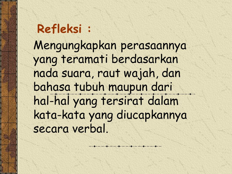 Refleksi : Mengungkapkan perasaannya yang teramati berdasarkan nada suara, raut wajah, dan bahasa tubuh maupun dari hal-hal yang tersirat dalam kata-k