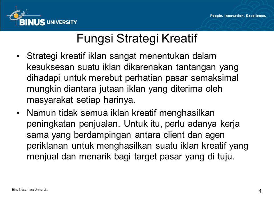 Bina Nusantara University 5 Elemen penting penerapan strategi kreatif iklan Identifikasi target pasar yang di tuju Permasalahan mendasar, isu atau peluang iklan yang harus dipertimbangkan Ide yang paling menjual atau keuntungan khusus yang ingin ditonjolkan Informasi lain yang harus dipertimbangkan dalam penerapan strategi tersebut.