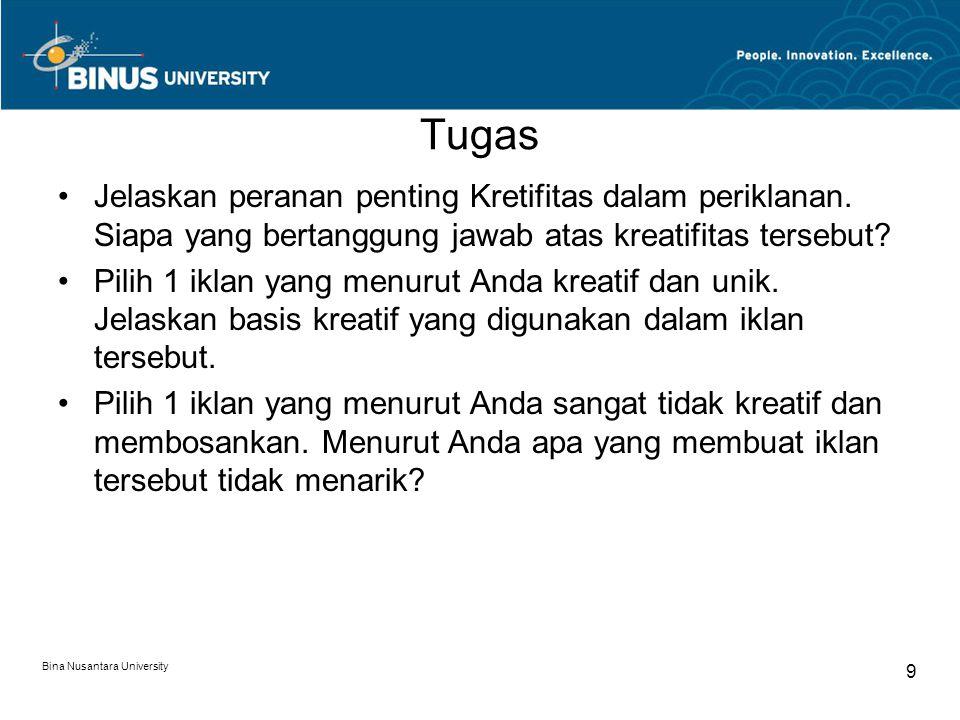 Bina Nusantara University 9 Tugas Jelaskan peranan penting Kretifitas dalam periklanan.