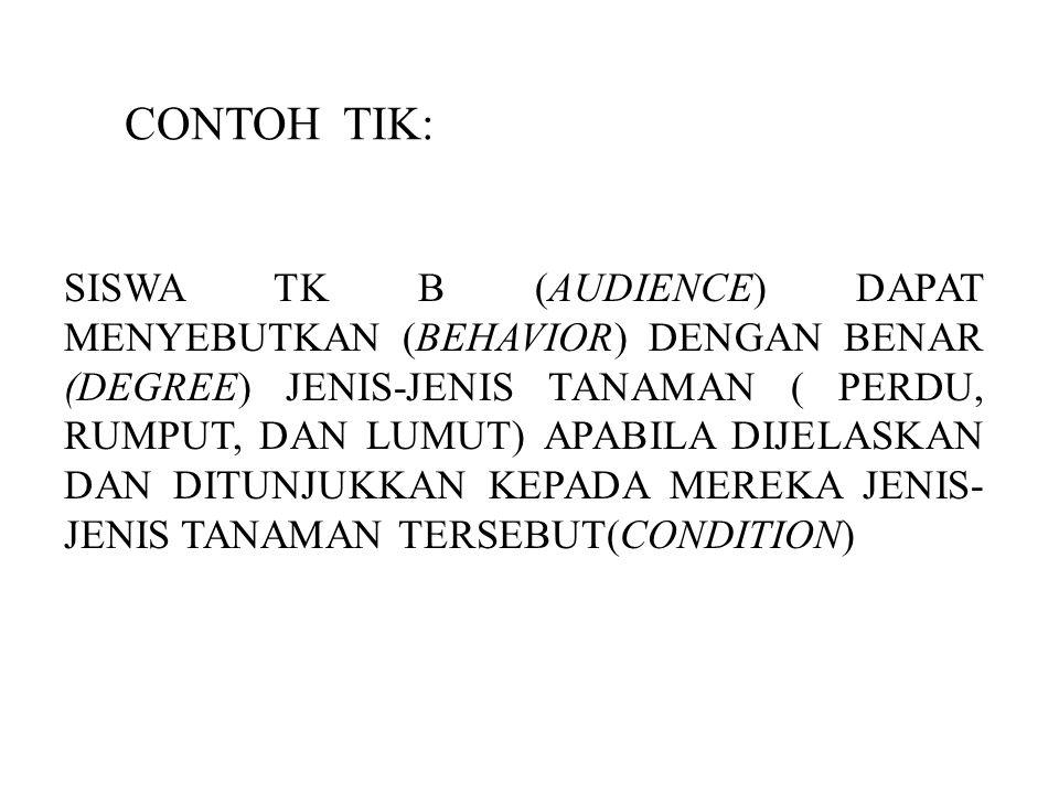 CONTOH TIK: SISWA TK B (AUDIENCE) DAPAT MENYEBUTKAN (BEHAVIOR) DENGAN BENAR (DEGREE) JENIS-JENIS TANAMAN ( PERDU, RUMPUT, DAN LUMUT) APABILA DIJELASKA