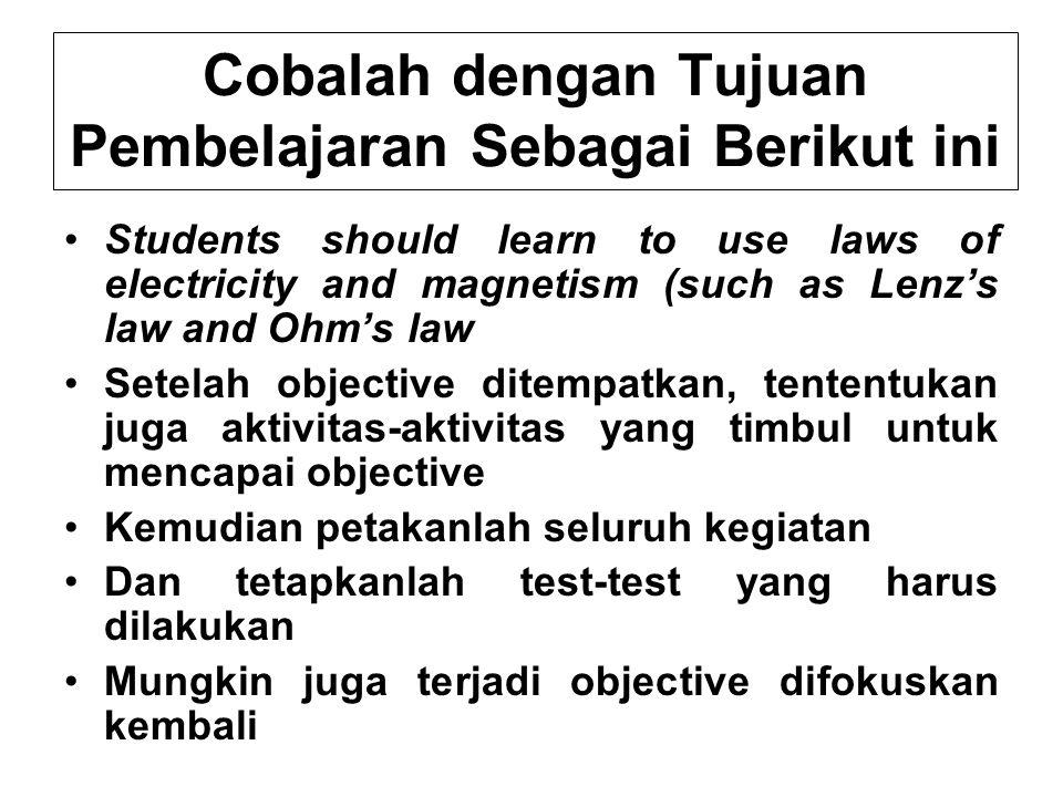 Cobalah dengan Tujuan Pembelajaran Sebagai Berikut ini Students should learn to use laws of electricity and magnetism (such as Lenz's law and Ohm's la