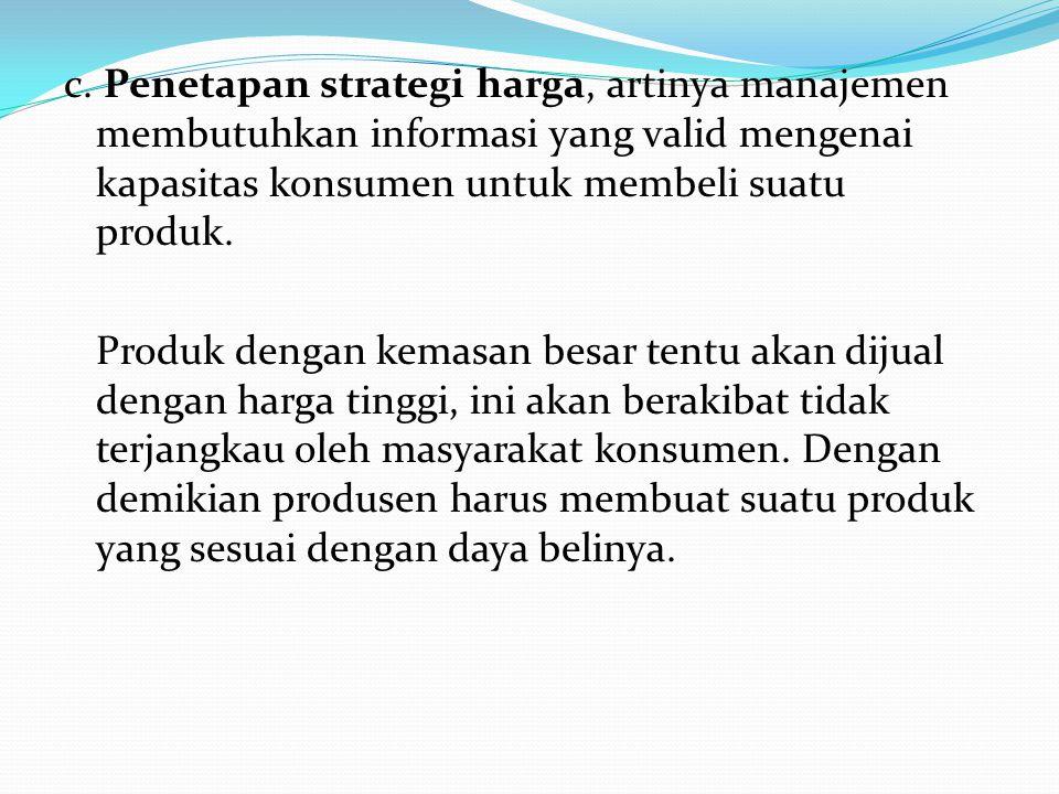 c. Penetapan strategi harga, artinya manajemen membutuhkan informasi yang valid mengenai kapasitas konsumen untuk membeli suatu produk. Produk dengan