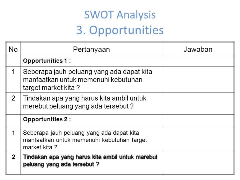 SWOT Analysis 3. Opportunities NoPertanyaanJawaban Opportunities 1 : 1Seberapa jauh peluang yang ada dapat kita manfaatkan untuk memenuhi kebutuhan ta