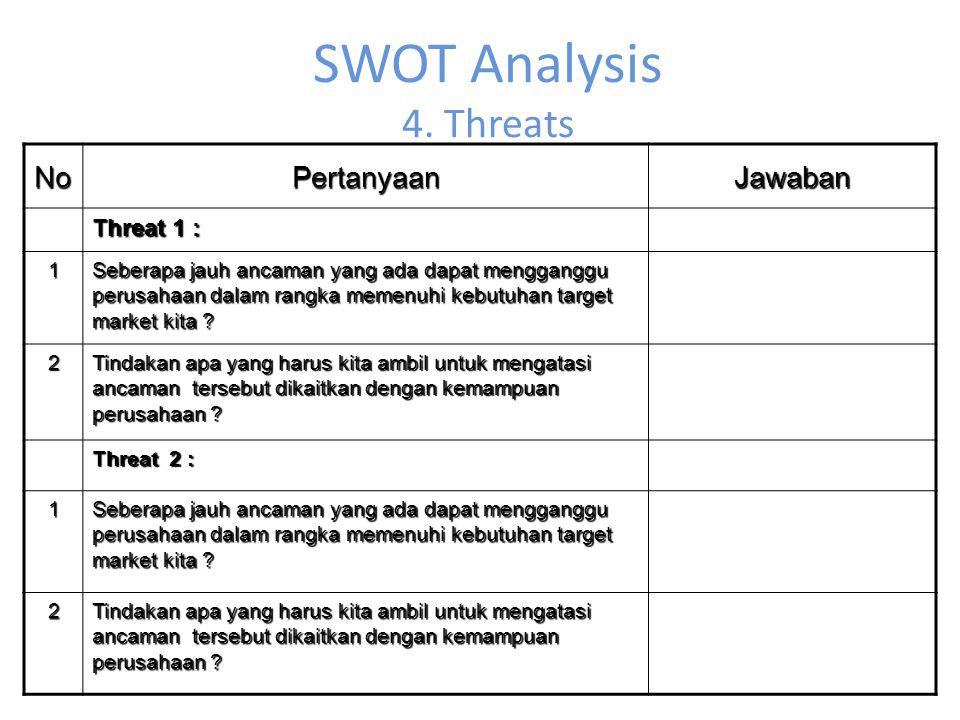SWOT Analysis 4. Threats NoPertanyaanJawaban Threat 1 : 1 Seberapa jauh ancaman yang ada dapat mengganggu perusahaan dalam rangka memenuhi kebutuhan t