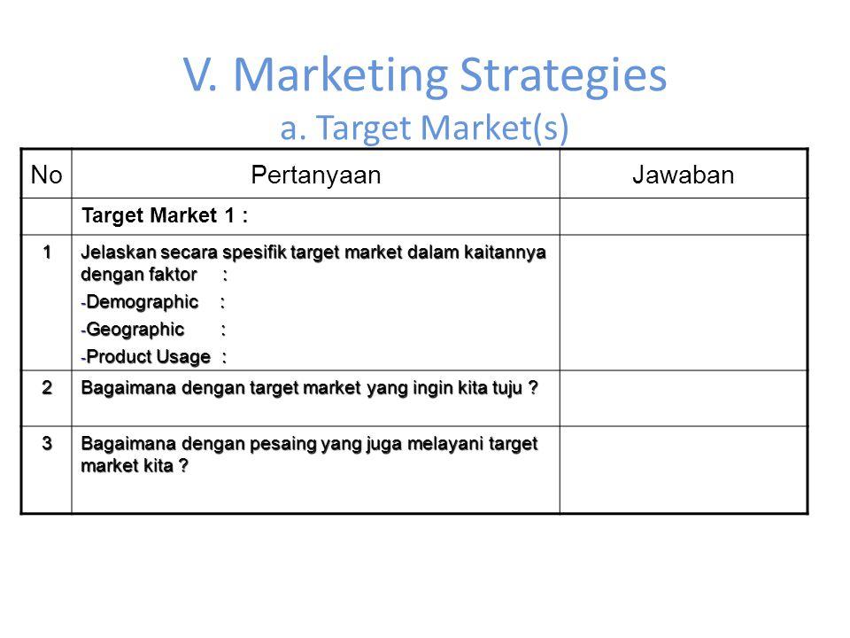 V. Marketing Strategies a. Target Market(s) NoPertanyaanJawaban Target Market 1 : 1 Jelaskan secara spesifik target market dalam kaitannya dengan fakt