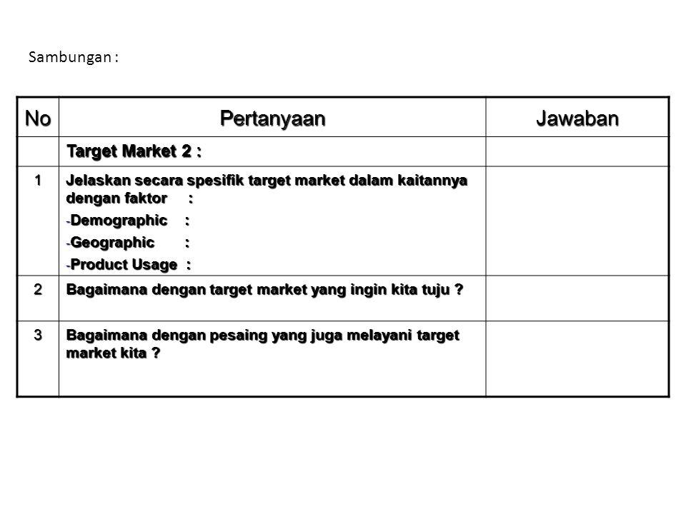NoPertanyaanJawaban Target Market 2 : 1 Jelaskan secara spesifik target market dalam kaitannya dengan faktor : - Demographic : - Geographic : - Produc