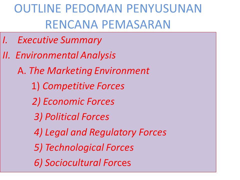 OUTLINE PEDOMAN PENYUSUNAN RENCANA PEMASARAN I.Executive Summary II. Environmental Analysis A. The Marketing Environment 1) Competitive Forces 2) Econ