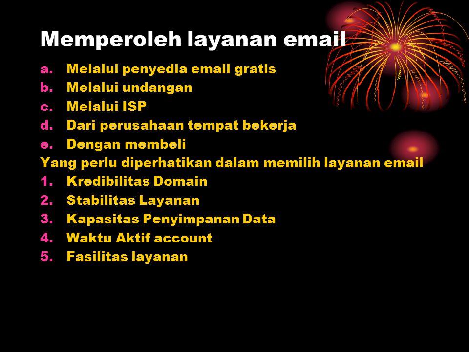 Memperoleh layanan email a.Melalui penyedia email gratis b.Melalui undangan c.Melalui ISP d.Dari perusahaan tempat bekerja e.Dengan membeli Yang perlu