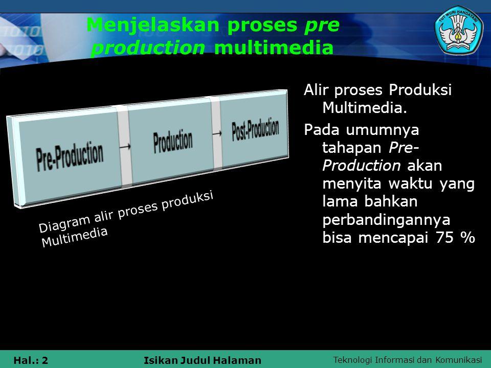 Teknologi Informasi dan Komunikasi Hal.: 2Isikan Judul Halaman Menjelaskan proses pre production multimedia Alir proses Produksi Multimedia. Pada umum