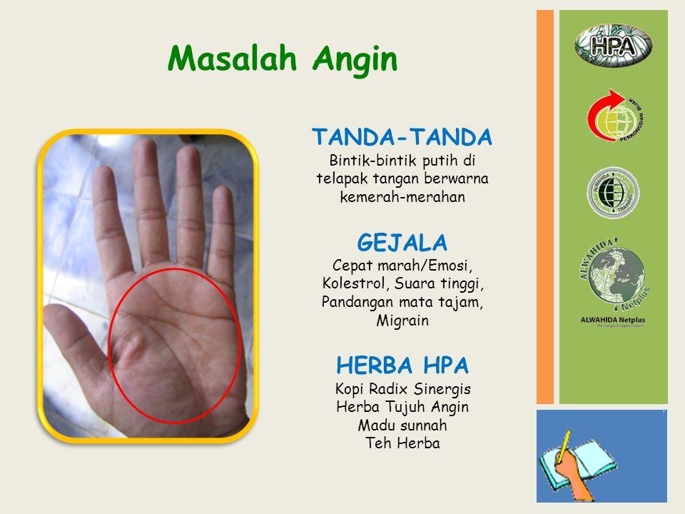 Masalah Angin TANDA-TANDA Bintik-bintik putih di telapak tangan berwarna kemerah-merahan GEJALA Cepat marah/Emosi, Kolestrol, Suara tinggi, Pandangan