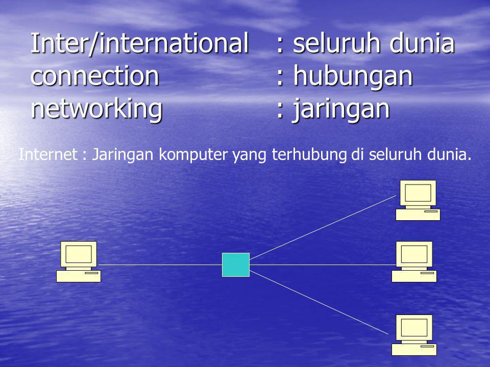 Inter/international: seluruh dunia connection: hubungan networking: jaringan Internet : Jaringan komputer yang terhubung di seluruh dunia.