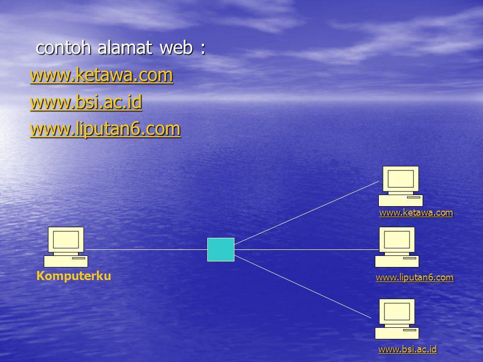 contoh alamat web : contoh alamat web : www.ketawa.com www.bsi.ac.id www.liputan6.com www.ketawa.com www.liputan6.com www.bsi.ac.id Komputerku
