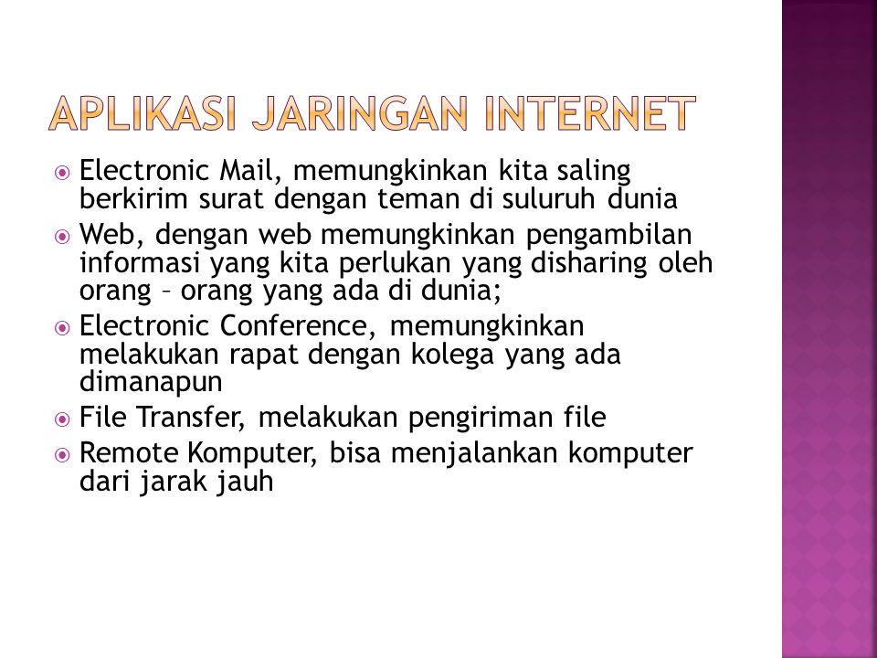  Electronic Mail, memungkinkan kita saling berkirim surat dengan teman di suluruh dunia  Web, dengan web memungkinkan pengambilan informasi yang kit