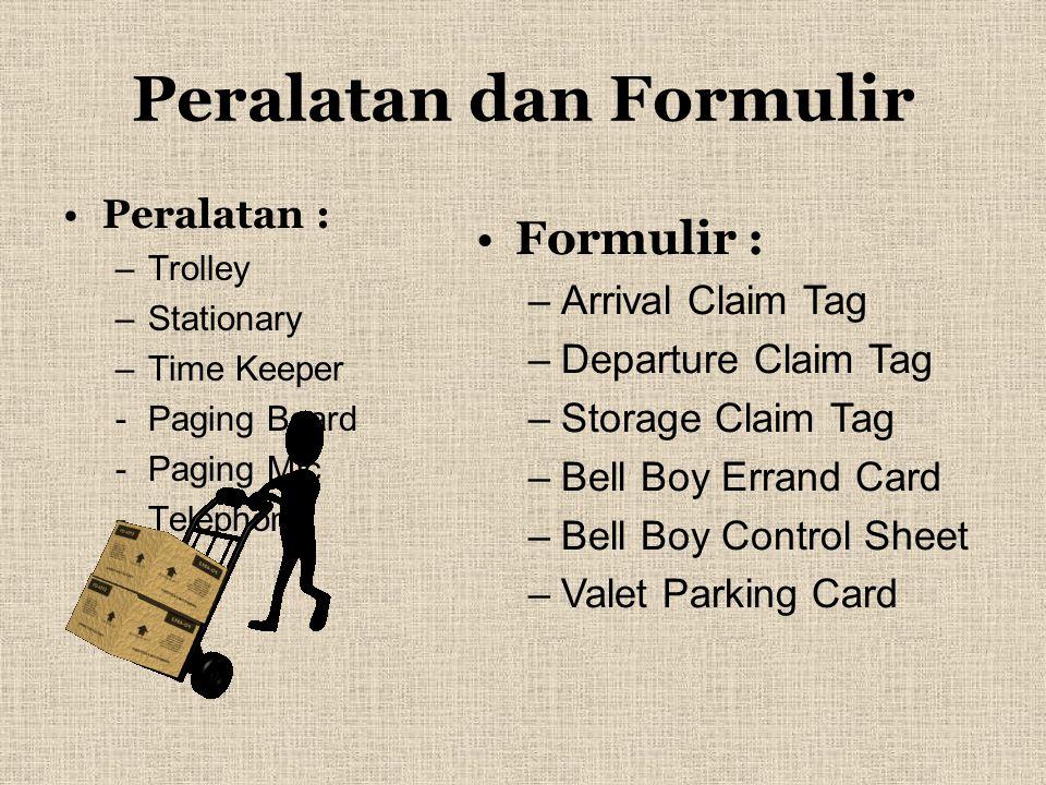 Peralatan dan Formulir Peralatan : –T–Trolley –S–Stationary –T–Time Keeper -P-Paging Board -P-Paging Mic -T-Telephone Formulir : –A–Arrival Claim Tag