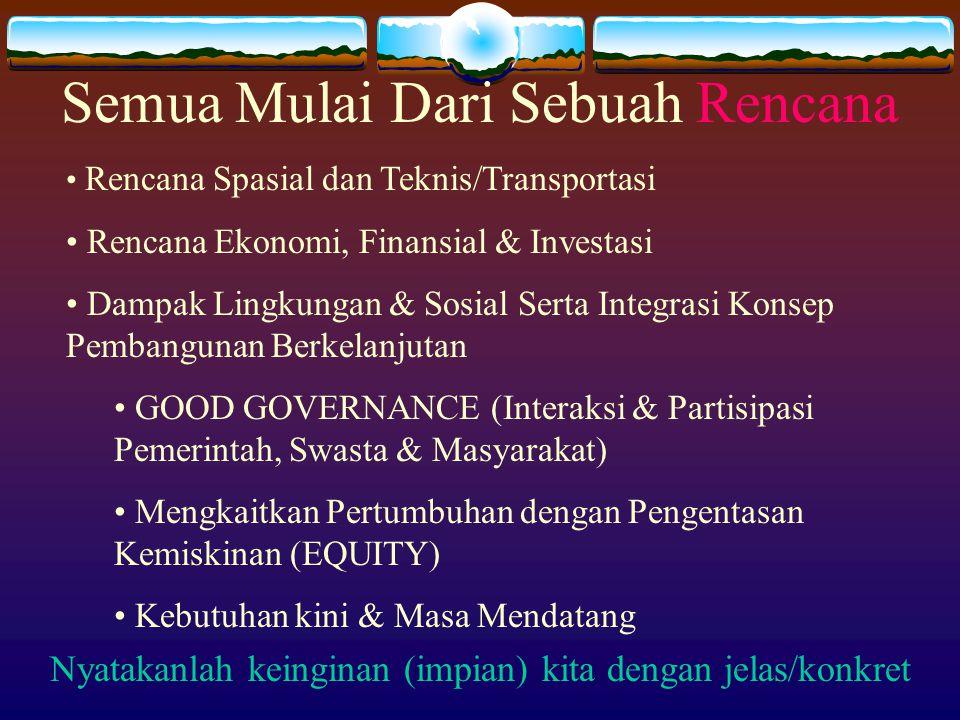 Semua Mulai Dari Sebuah Rencana Rencana Spasial dan Teknis/Transportasi Rencana Ekonomi, Finansial & Investasi Dampak Lingkungan & Sosial Serta Integr