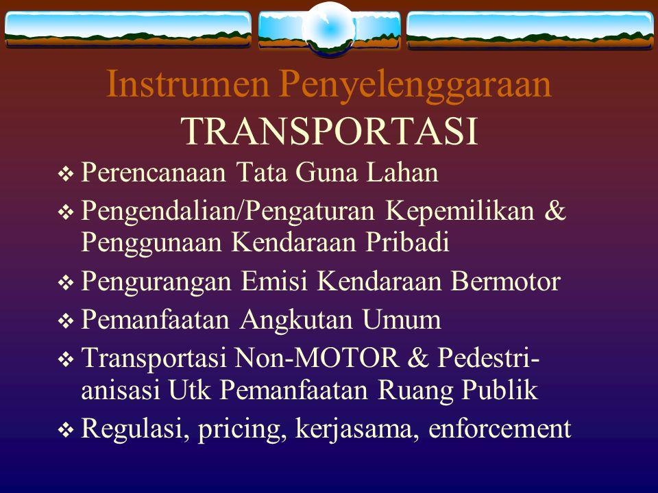 Instrumen Penyelenggaraan TRANSPORTASI  Perencanaan Tata Guna Lahan  Pengendalian/Pengaturan Kepemilikan & Penggunaan Kendaraan Pribadi  Penguranga