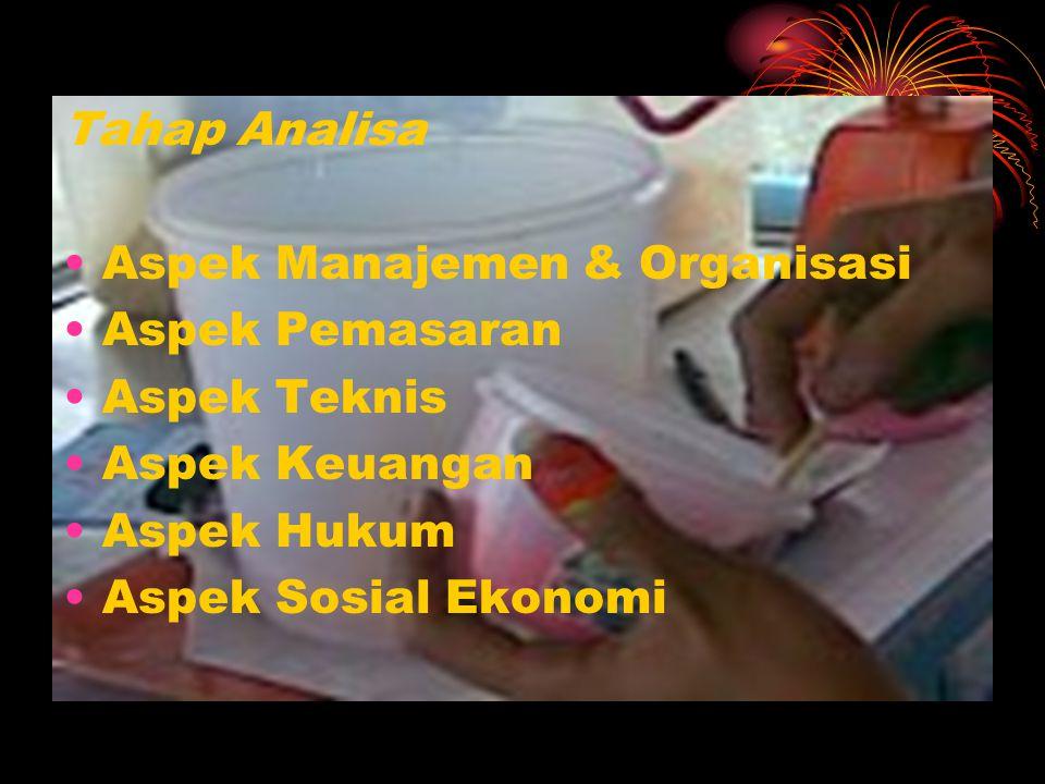 Tahap Analisa Aspek Manajemen & Organisasi Aspek Pemasaran Aspek Teknis Aspek Keuangan Aspek Hukum Aspek Sosial Ekonomi