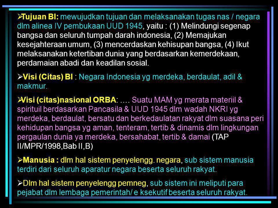 """a. SANKRI DLM ARTI LUASlm : """"Sistem penyelengg negara Indonesia, yg merupakan sistem penyelengg kehidupan negara & bangsa dlm segala aspeknya, dg mema"""