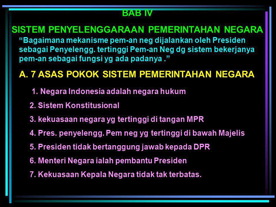 B. LEMBAGAS NEGARA (UUD 1945) 1. Majelis Permusyawaratan Rakyat (MPR) 2. Presiden 3. Dewan Perwakilan Rakyat (DPR) 4. Dewan Perwakilan Daerah (DPD) 5.
