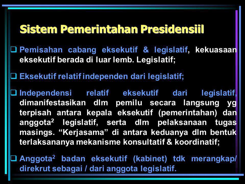 """Landasan Yuridis Sistem Pem-an RI Dasar Konstitusional : UUD 1945 """"Presiden adalah kepala negara dan sekaligus kepala pemerintahan"""" Indonesia menganut"""