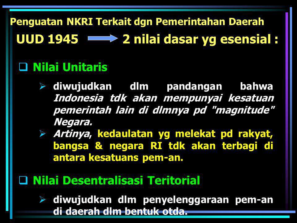 2 pijakan utama :  berlandaskan Negara Kesatuan Republik Indonesia, dan  berlangsungnya check and balances. Peletakan Dasar 2 Sistem Pemdagri