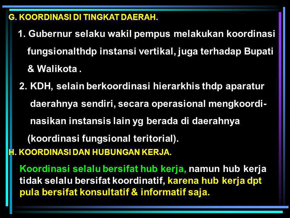 D. PELAKSANAAN KOORDINASI DALM SISTEM PEM-AN INDONESIA. 1. Sidang Kabinet : (a) Paripurna (b) Terbatas. 2. Rapat di lingkungan Menko 3. Koordinasi ant