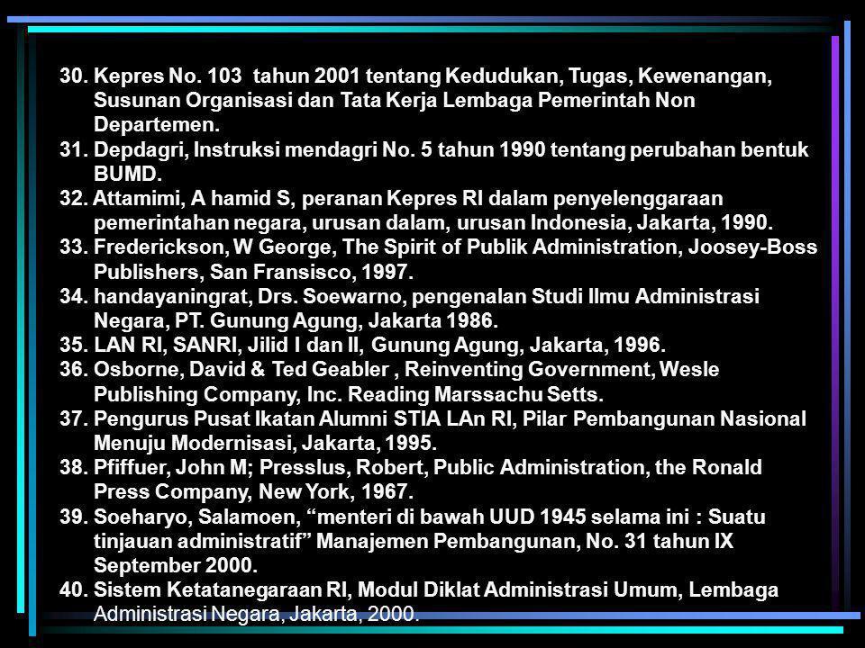 16. UU No. 25 tahun 2000 tentang Program Pembangunan Nasional. 17. UU No. 18 tahun 2001 tentang Otonomi Luas bagi Provinsi Daista Aceh. 18. UU tentang