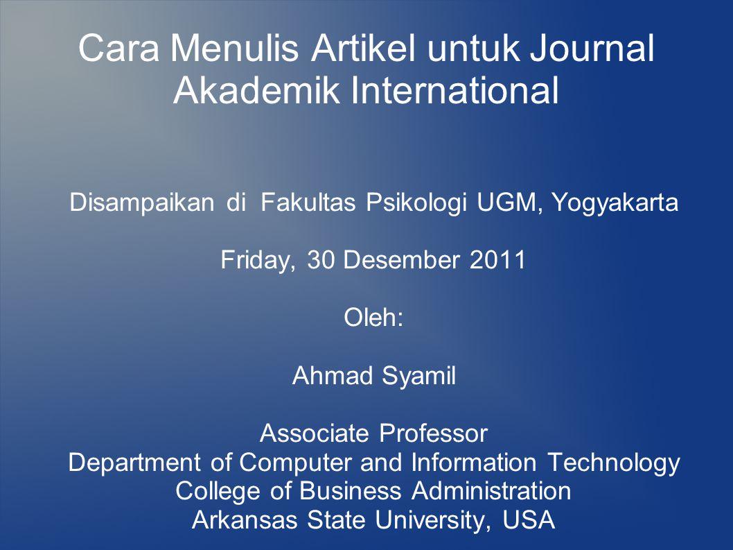 Berapa lama waktu untuk menulis artikel hingga diterima di jurnal internasional.