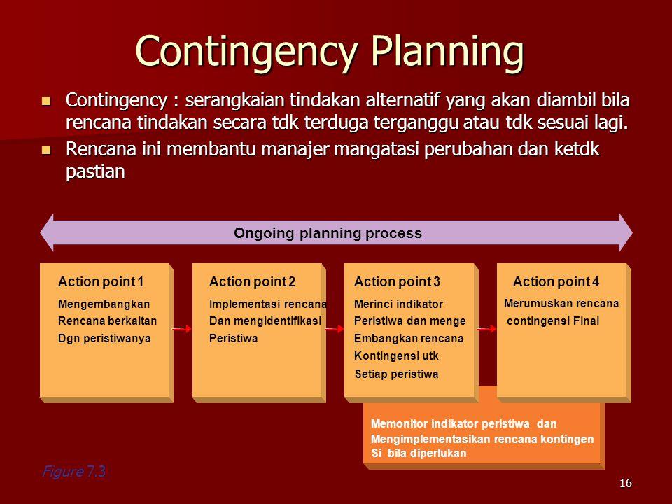 Contingency Planning Contingency : serangkaian tindakan alternatif yang akan diambil bila rencana tindakan secara tdk terduga terganggu atau tdk sesuai lagi.