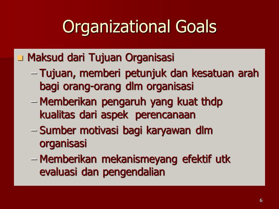 Organizational Goals Maksud dari Tujuan Organisasi Maksud dari Tujuan Organisasi –Tujuan, memberi petunjuk dan kesatuan arah bagi orang-orang dlm organisasi –Memberikan pengaruh yang kuat thdp kualitas dari aspek perencanaan –Sumber motivasi bagi karyawan dlm organisasi –Memberikan mekanismeyang efektif utk evaluasi dan pengendalian 6