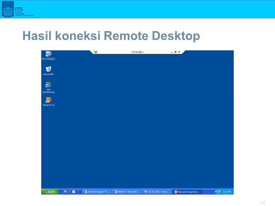 106 Hasil koneksi Remote Desktop