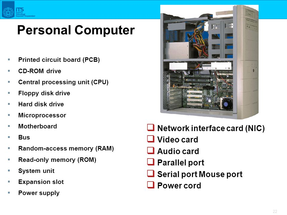 22 Personal Computer  Printed circuit board (PCB)  CD-ROM drive  Central processing unit (CPU)  Floppy disk drive  Hard disk drive  Microprocess