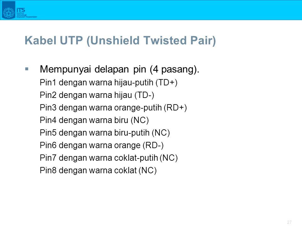 27 Kabel UTP (Unshield Twisted Pair)  Mempunyai delapan pin (4 pasang).