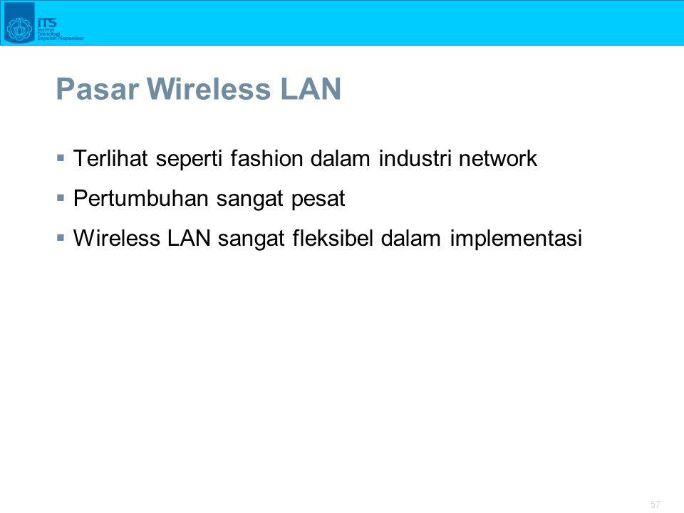 57 Pasar Wireless LAN  Terlihat seperti fashion dalam industri network  Pertumbuhan sangat pesat  Wireless LAN sangat fleksibel dalam implementasi