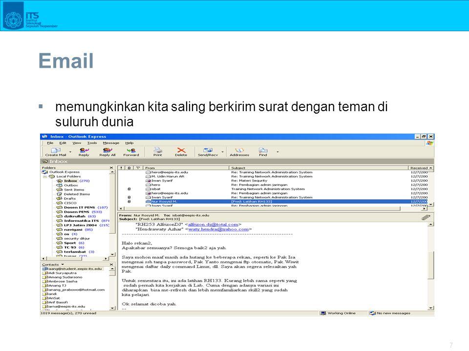 7 Email  memungkinkan kita saling berkirim surat dengan teman di suluruh dunia