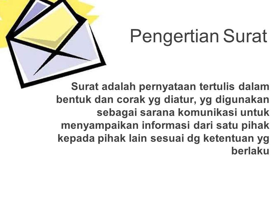 Surat adalah pernyataan tertulis dalam bentuk dan corak yg diatur, yg digunakan sebagai sarana komunikasi untuk menyampaikan informasi dari satu pihak