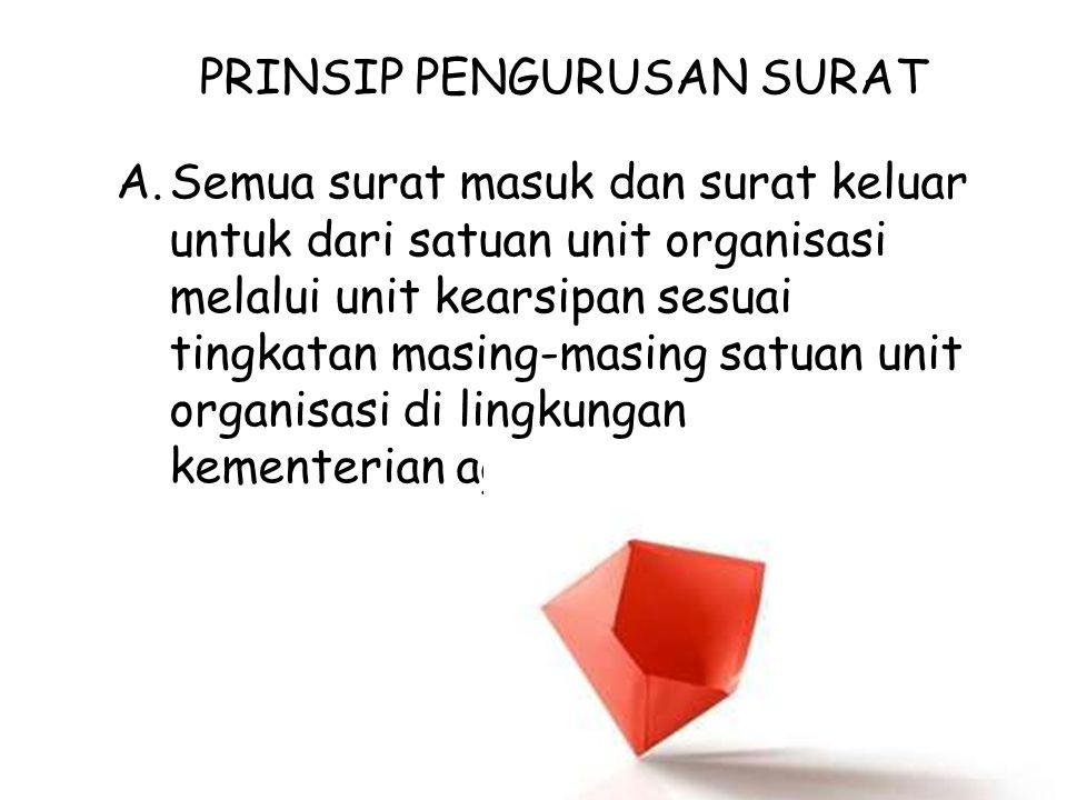 PRINSIP PENGURUSAN SURAT A.Semua surat masuk dan surat keluar untuk dari satuan unit organisasi melalui unit kearsipan sesuai tingkatan masing-masing
