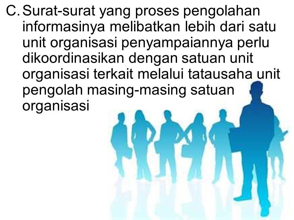 C.Surat-surat yang proses pengolahan informasinya melibatkan lebih dari satu unit organisasi penyampaiannya perlu dikoordinasikan dengan satuan unit o