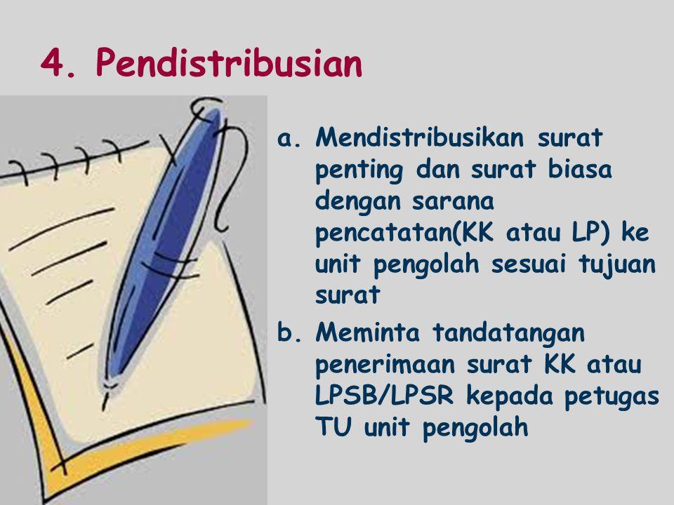 4. Pendistribusian a.Mendistribusikan surat penting dan surat biasa dengan sarana pencatatan(KK atau LP) ke unit pengolah sesuai tujuan surat b.Memint
