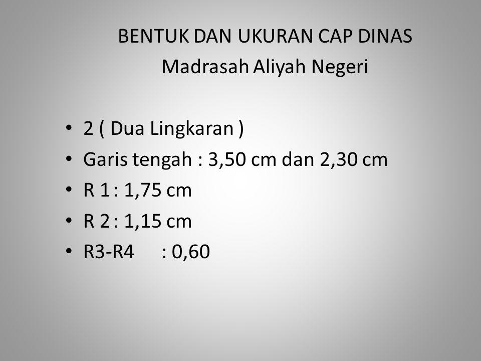 BENTUK DAN UKURAN CAP DINAS Madrasah Aliyah Negeri 2 ( Dua Lingkaran ) Garis tengah : 3,50 cm dan 2,30 cm R 1: 1,75 cm R 2: 1,15 cm R3-R4: 0,60