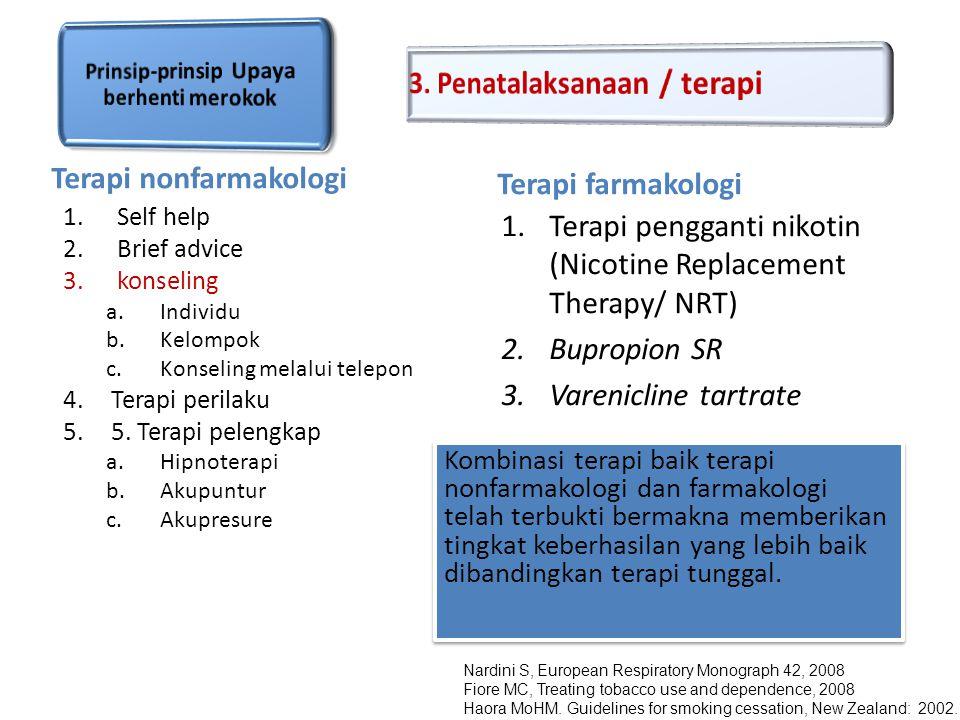 Terapi nonfarmakologi Terapi farmakologi 1.Self help 2.Brief advice 3.konseling a.Individu b.Kelompok c.Konseling melalui telepon 4.Terapi perilaku 5.