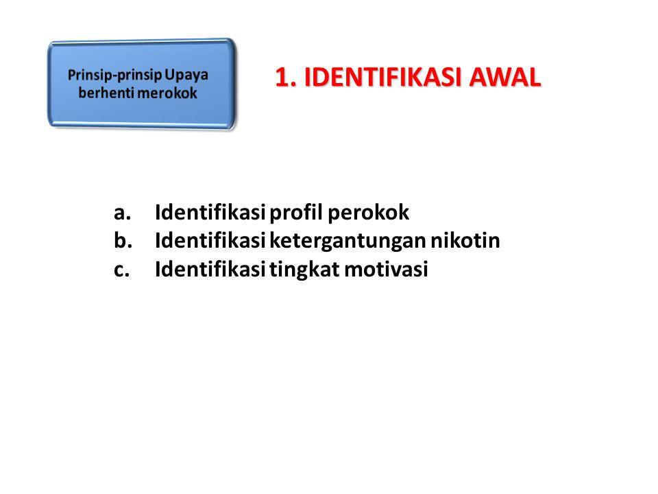 a.Identifikasi profil perokok b.Identifikasi ketergantungan nikotin c.Identifikasi tingkat motivasi 1. IDENTIFIKASI AWAL