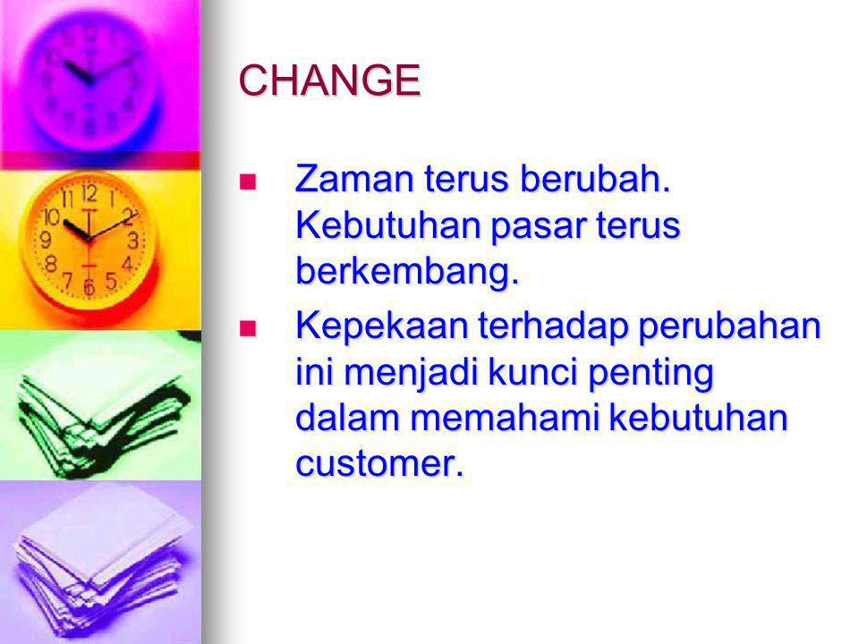 CHANGE Zaman terus berubah. Kebutuhan pasar terus berkembang. Zaman terus berubah. Kebutuhan pasar terus berkembang. Kepekaan terhadap perubahan ini m
