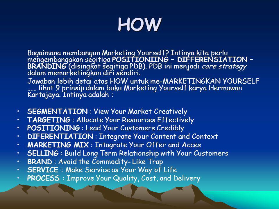 HOW Bagaimana membangun Marketing Yourself? Intinya kita perlu mengembangakan segitiga POSITIONIING – DIFFERENSIATION – BRANDING (disingkat segitiga P